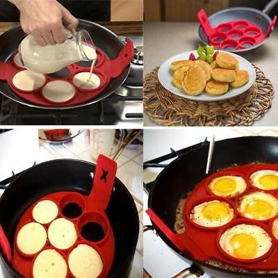 Pancake Mould Non Stick Silicone Breakfast Maker Egg Ring Omelette Flip Tool 6A