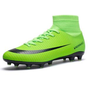 Uomo-Scarpe-Sportive-Scarpe-Calcio-High-Top-camme-Scarpe-Verde-Tg-35-45