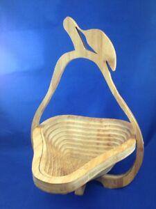 Details About Collapsible Wooden Pear Design Fruit Bowl Bread Basket Display Basket