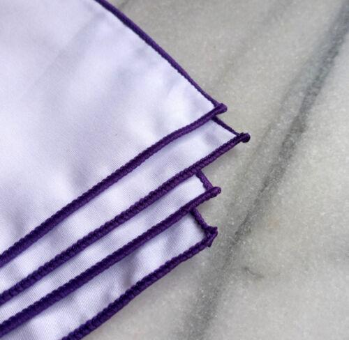 Cotton Mens Pocket Square-Solid White Cotton Pocket Square with Purple Border