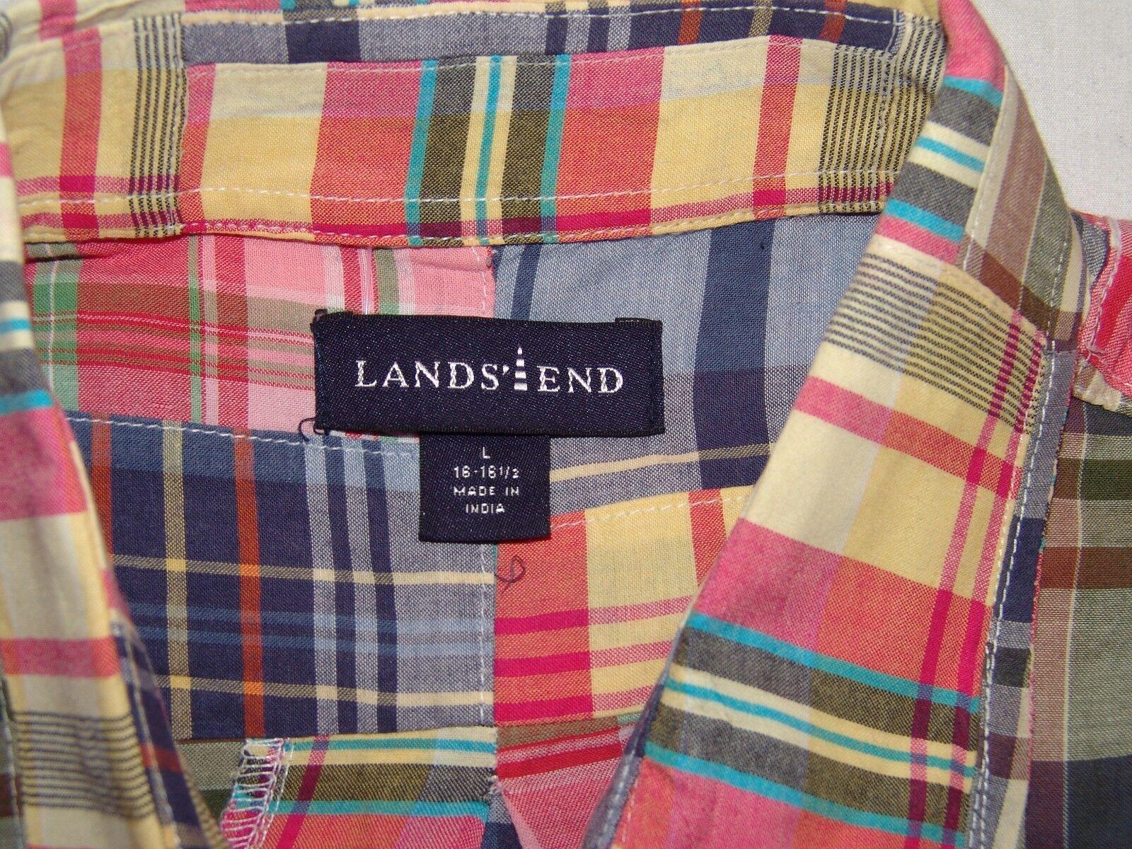 Lands Lands Lands End Madras Patchwork Knopfverschluss Hemd L 16 16 1 2 Herren Freizeit | Vogue  115a93