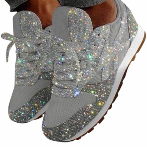 Womens Lace Up Glitter Sequins Trainers Breathable Sneaker Shoes Casual Sport US