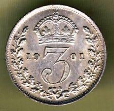 UNITED KINGDOM - 3 PENCE 1901 XF+ KM# 777. VICTORIA