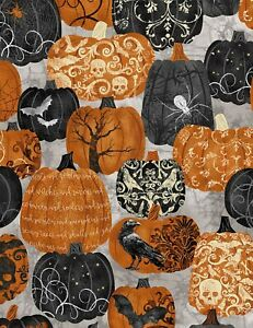 Halloween-Pumpkins-Tossed-Gray-B-G-BTY-Timeless-Treasures-Spider-Bats-Skulls