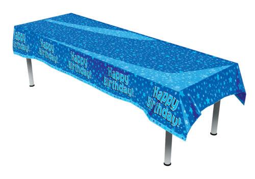 X 54 Plastic Table Cover Joyeux Anniversaire Bleu Motif Étoiles 259 cm x 137 cm 102 in environ 259.08 cm