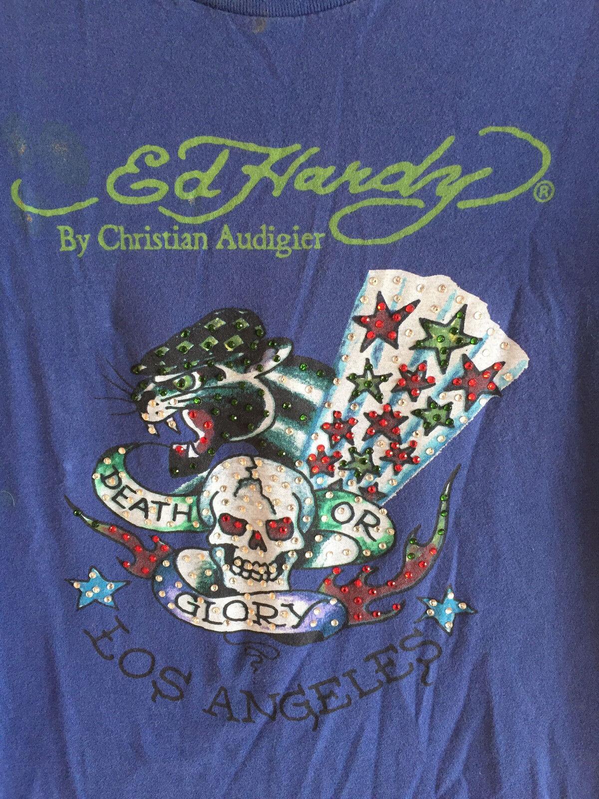 Ed Hardy T Shirt Tee   Death or Glory Los Angeles  Womens Embellished   M