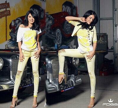 Foggi Damen Jeans 2 Teiler Jeansjacke + Röhrenjeans Hüftjeans Gelb XS M | eBay