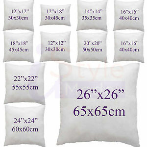 """PACK OF 4 Cushions Pads Inners Inserts Fillers 12 14 16/"""" 18/"""" 20/"""" 22 24 ALL SIZES"""