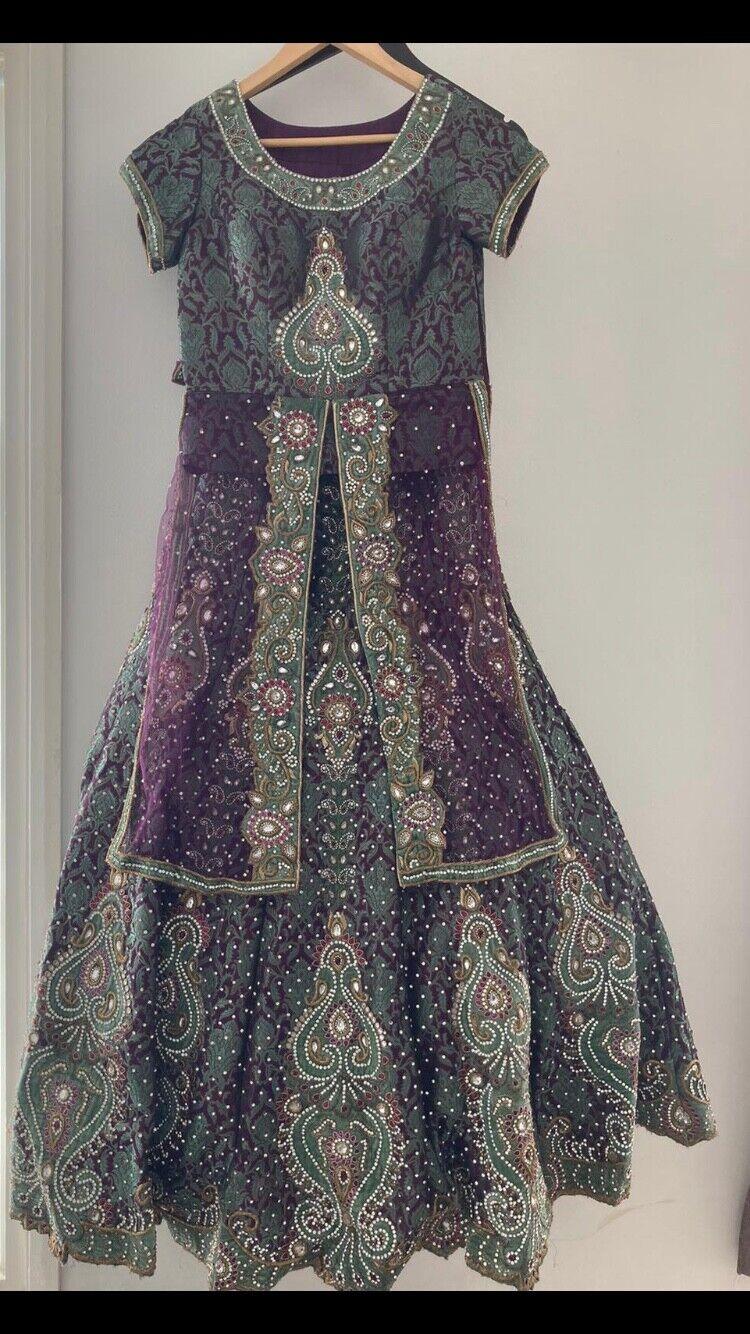 Brocade & chiffon asian bridal lengha/dress. Purple and mint green