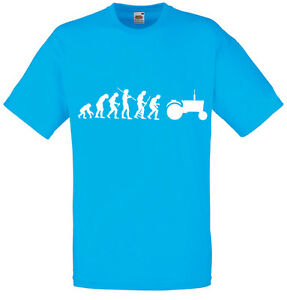 Evolution-of-Tractor-Farmer-Inspired-Men-039-s-Printed-T-Shirt-Crew-Neck-T-Shirts