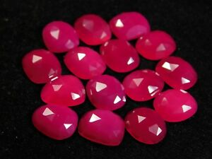 Natural-Hot-Ruby-Pink-Chalcedony-Irregular-Shape-Rose-Cut-Slices-13x11MM-5-Pcs