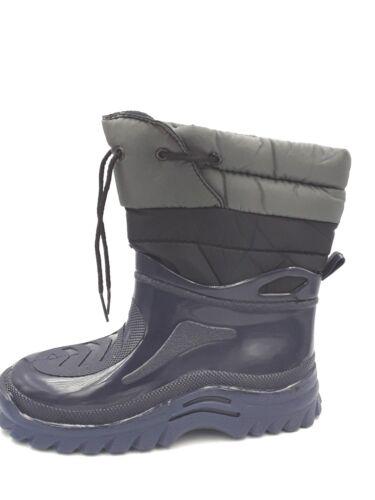 Boys F/&F Navy Black /& Grey Fleece Lined Wellington Snow Boot UK 2