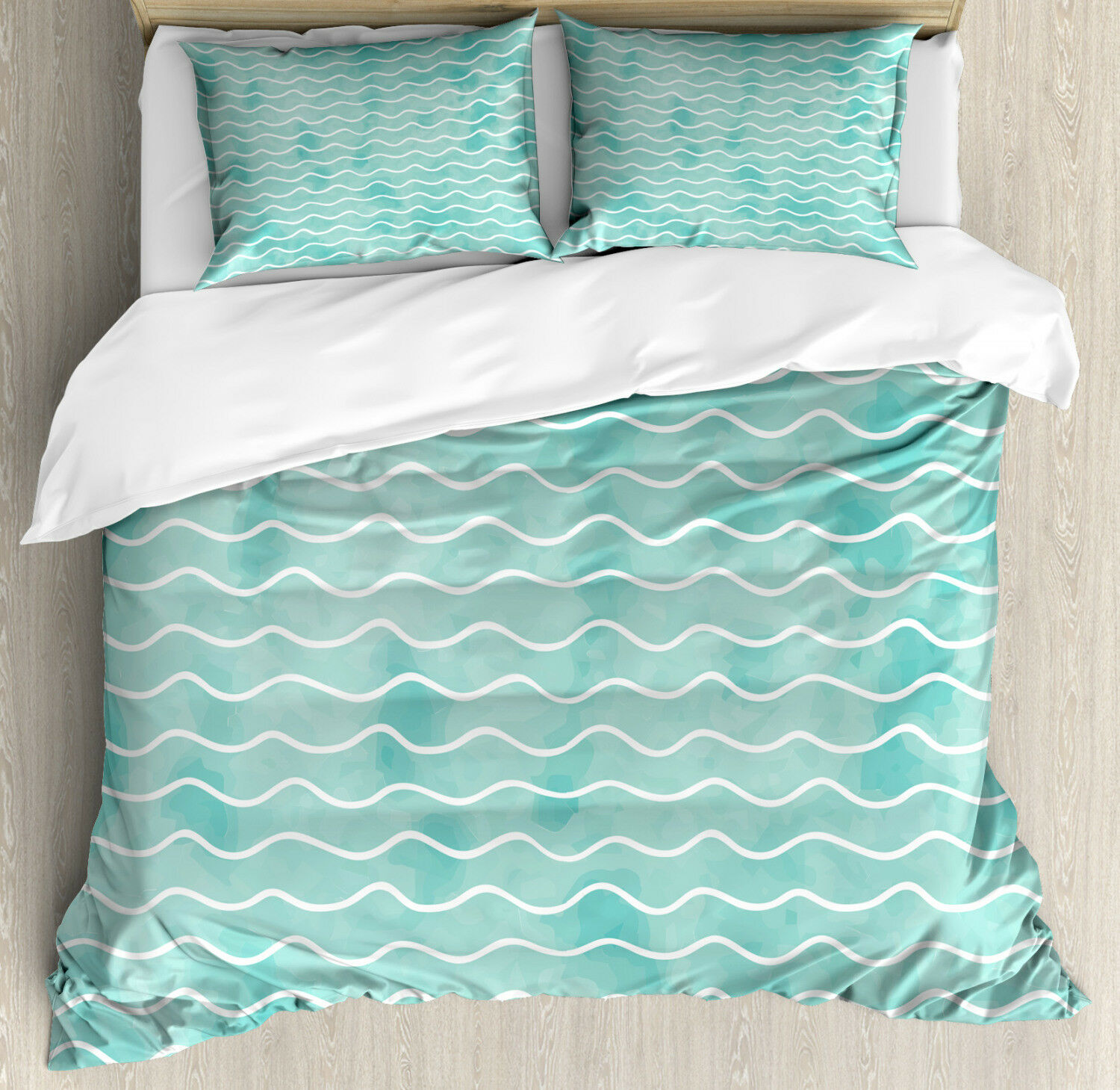 Nautical Duvet Cover Set with Pillow Shams Ocean Sea Wave Pattern Print