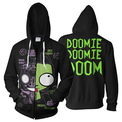 Invader Zim GIR in His Dog Disguise Doom Cosplay Hoodie Zip Up Jacket Sweatshirt