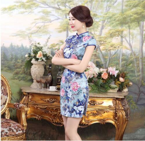 New Luxurious Blue With Flowers Chinese Short Dress Cheongsam Qipao lcdress8