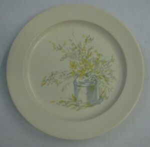 Vintage-Forsythia-Dinner-Plate-Ironstone-Anchor-Hocking-Dish-Blue-Yellow-Country