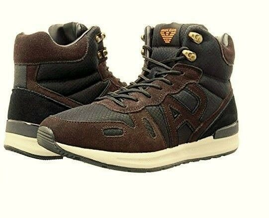 ARMANI Logo Lace Up Black Brown Hiking Trail Boots shoes Sneakers 9.5 Mens