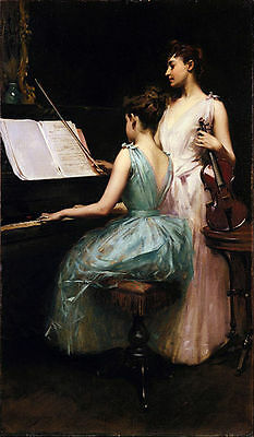 The Sonata (1889). Irving Ramsay Wiles Canvas Print