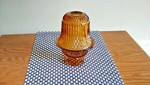 INDIANA-GLASS-AMBER-DIAMOND-POINT-FAIRY-LAMP-CANDLE-HOLDER