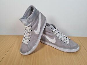 Nike-Grigio-Trianers-Alto-Top-Pelle-Scamosciata-Misura-UK-5-buone-condizioni