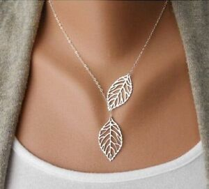 New-Fashion-Women-Gold-Silver-Leaf-Pendant-Charm-Plated-Party-Chain-Necklace