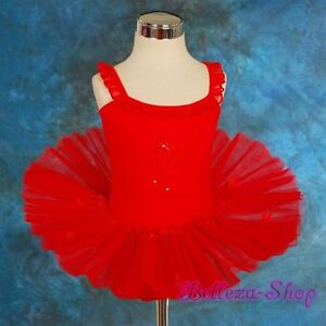 Ribbon-Ruffle-Girls-Red-Ballet-Tutu-Dancewear-Fairy-Dress-Size-4T-5T-BA023