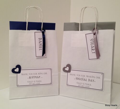 PERSONALISED PAPER WEDDING GIFT BAG FAVOUR PARTY HEARTS