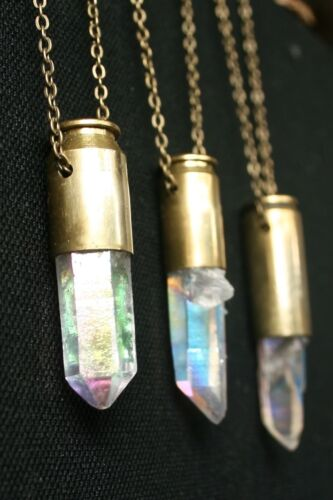 HEA opal angel aura quartz crystal bullet necklace