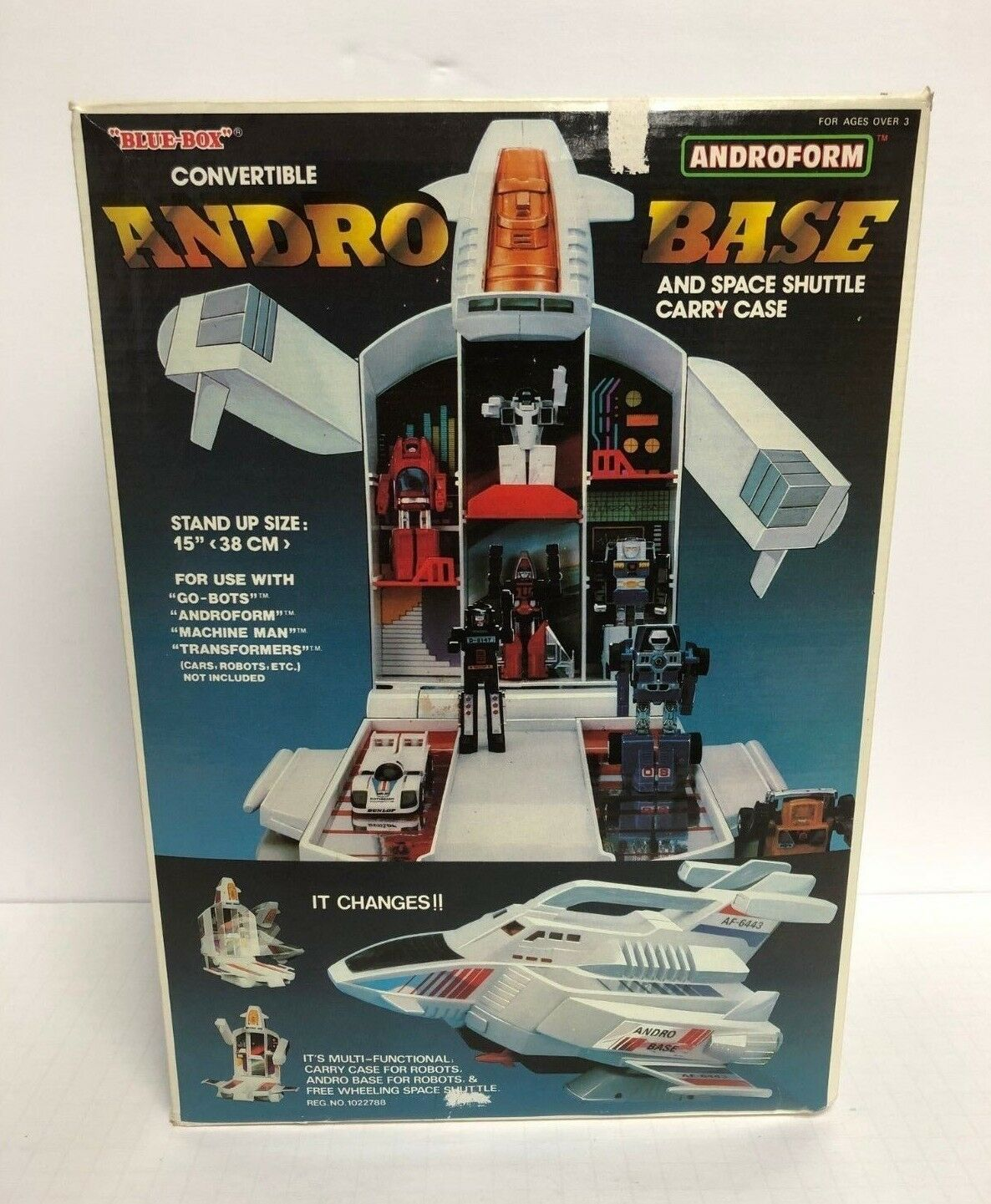 Vintage  1985 bleu-Box ANDRO BASE Space Shuttle voiturery Case Go-bots Transformers  excellent prix