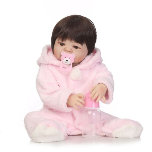 "Reborn Baby Girl Doll 22/"" Full Body Vinyl Silicone Realistic Washable Gift Pink"