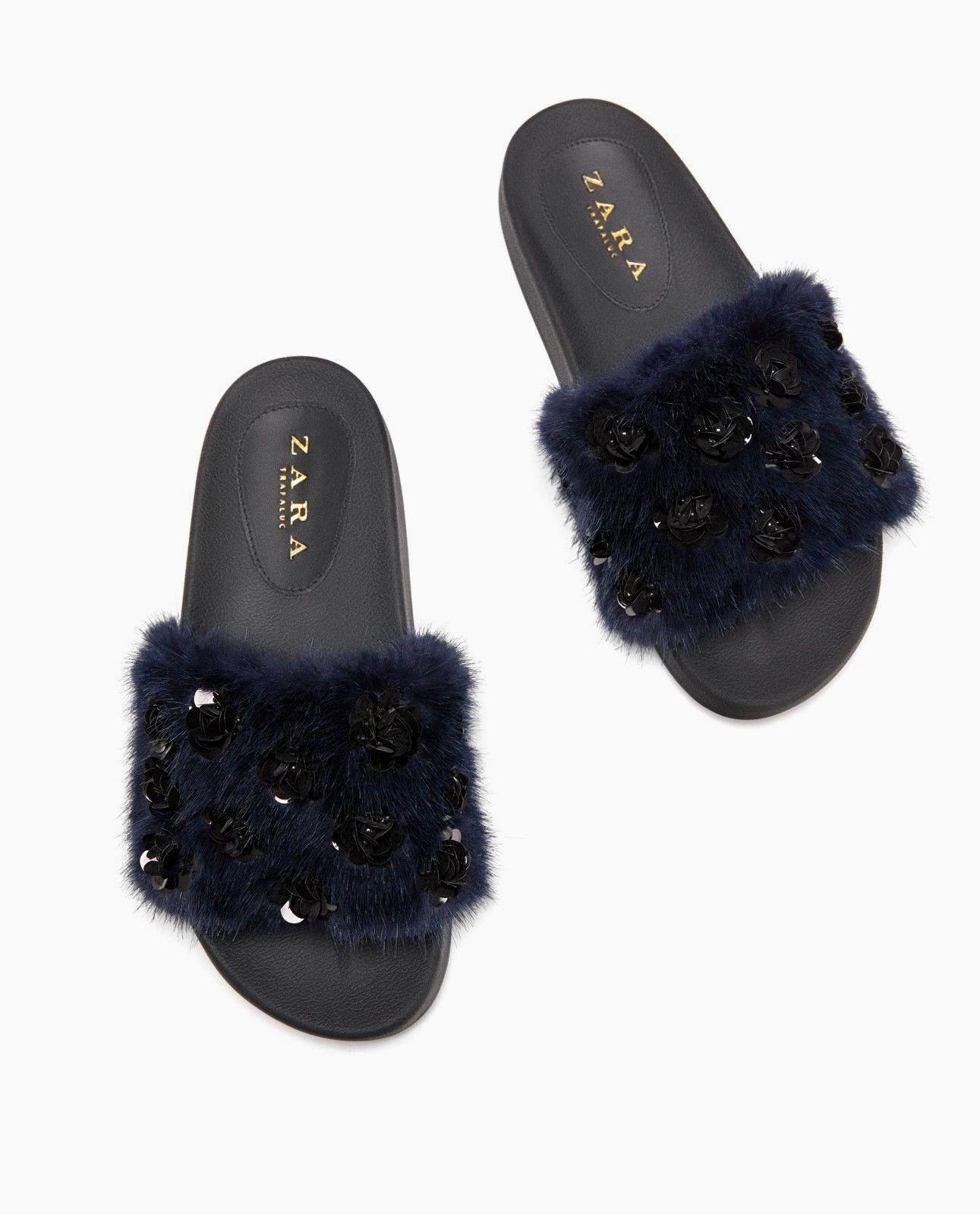 Zara Bleu Marine fausse fourrure Embelli Mule Slides Sandales Plates Taille UK 4 EU 37 USA 6,5