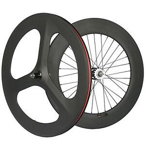 Fixed Gear Wheelset Front Rear 700C Tri-Spoke Track Wheel Clincher US Stock