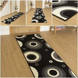 kreis schwarz l ufer teppich flur matte f r halle extra. Black Bedroom Furniture Sets. Home Design Ideas