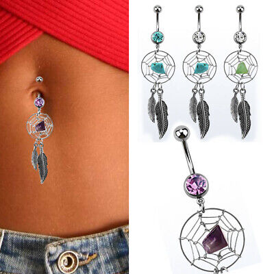 Two Feathers,Body jewelry,length:38 14G Surgical Steel Belly Buttons Bars Barbells Piercing with Jewel Ball and Dangling Dream Catcher
