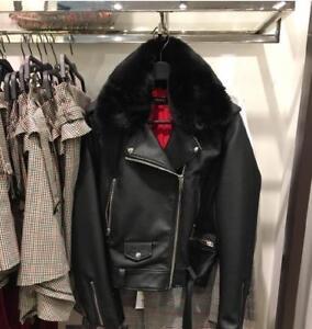 BNWT-139-ZARA-Faux-Leather-Detachable-Fur-Biker-Jacket-Black-XS-S-M-L-3046-021