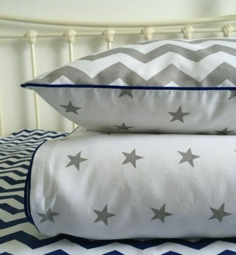 toddler bedding set reversible pure cotton stars chevron Baby boy grey cot bed