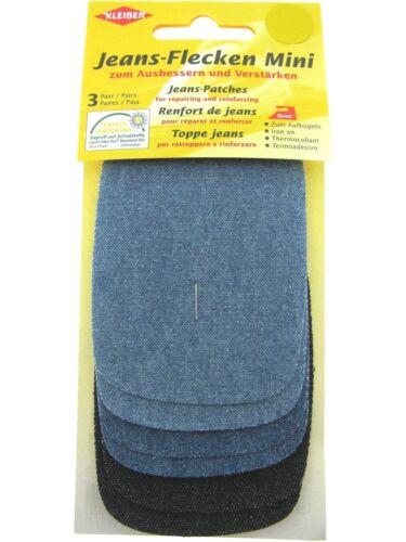 12 Colour 3 Pair Card Kleiber Mini Iron On Denim Jean Repair Patches