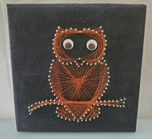 Vintage-Mid-Century-Copper-Wire-Nail-String-Art-Owl-With-Moving-Eyes-12-034-x12-034