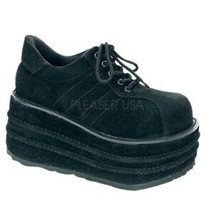 Demonia TEMPO-08 Men's Platform Sneakers Black Faux Suede Goth Festival Shoes