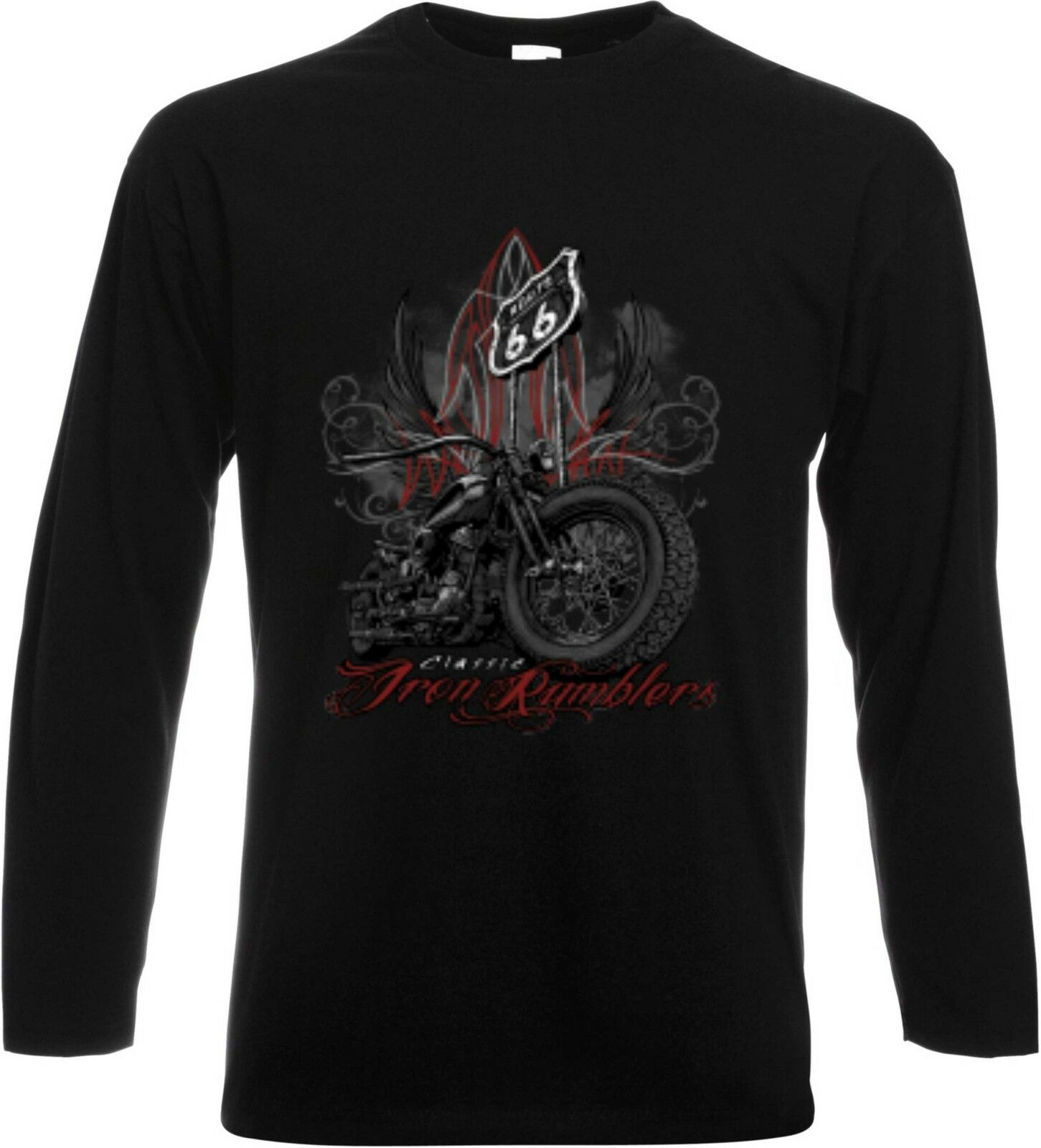 à manches T-shirt longues / T-shirt manches noir HD motard chopper & oldschoolmotiv HOTPANTS 208c26