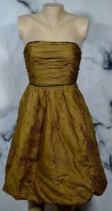 KAY-UNGER-Golden-Brown-Strapless-Bubble-Hem-Dress-2-Black-Trim-Lined-Cocktail