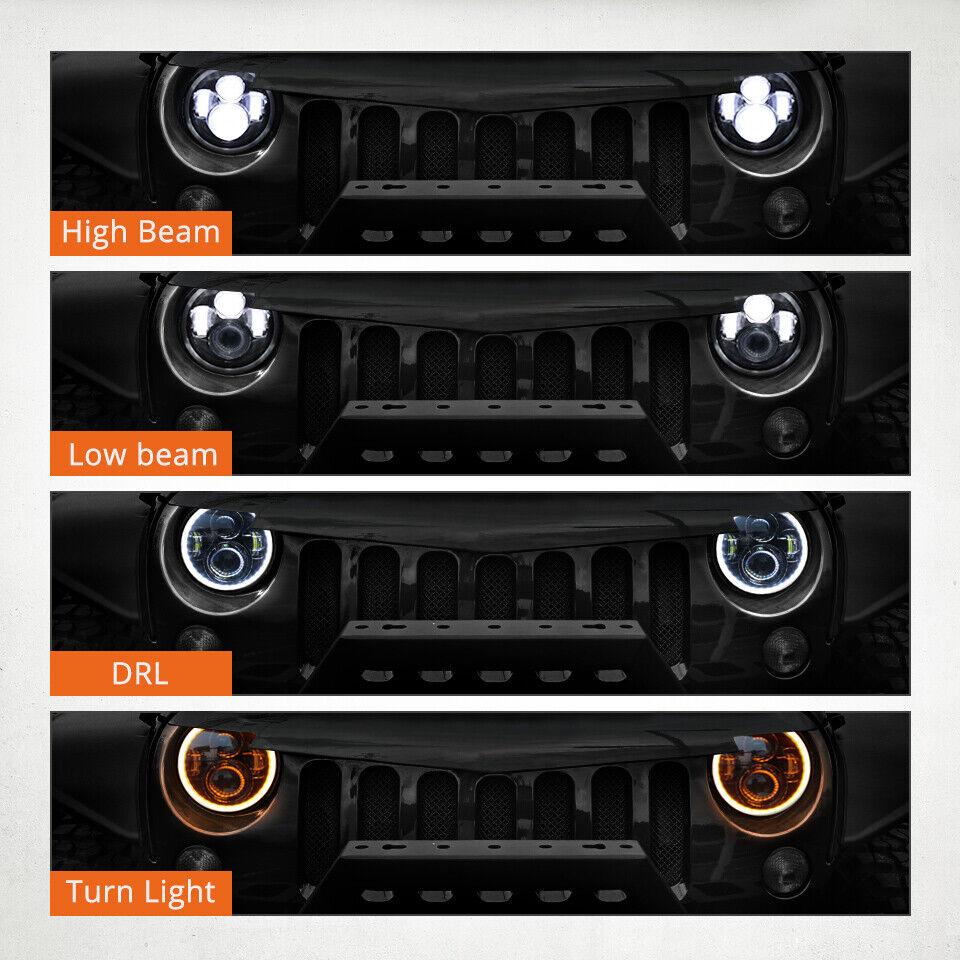 "Pair 7"" Inch Round LED Headlights Halo Angle Eyes For Jeep Wrangler JK LJ TJ CJ 4"