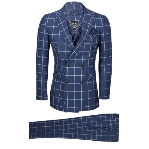 Mens 3 Piece Double Breasted Suit White Window Pane Check on Navy Classic Retro