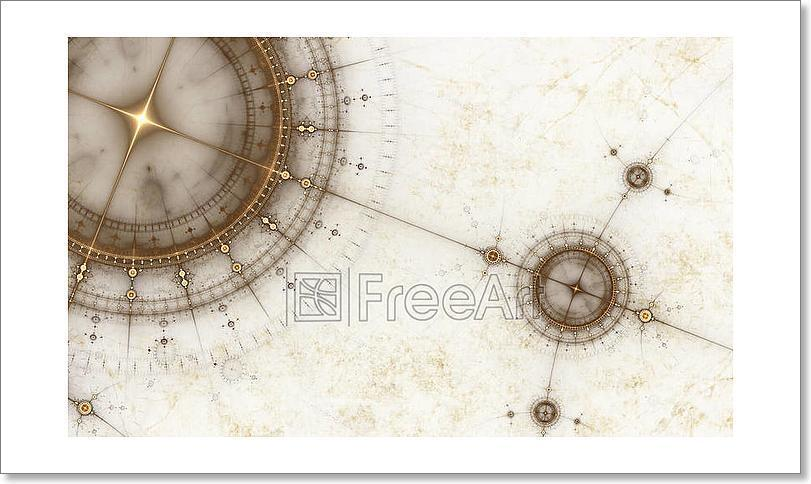 Ancient Nautical Chart, Grunge Art Print Home Decor Wall Art Poster - C