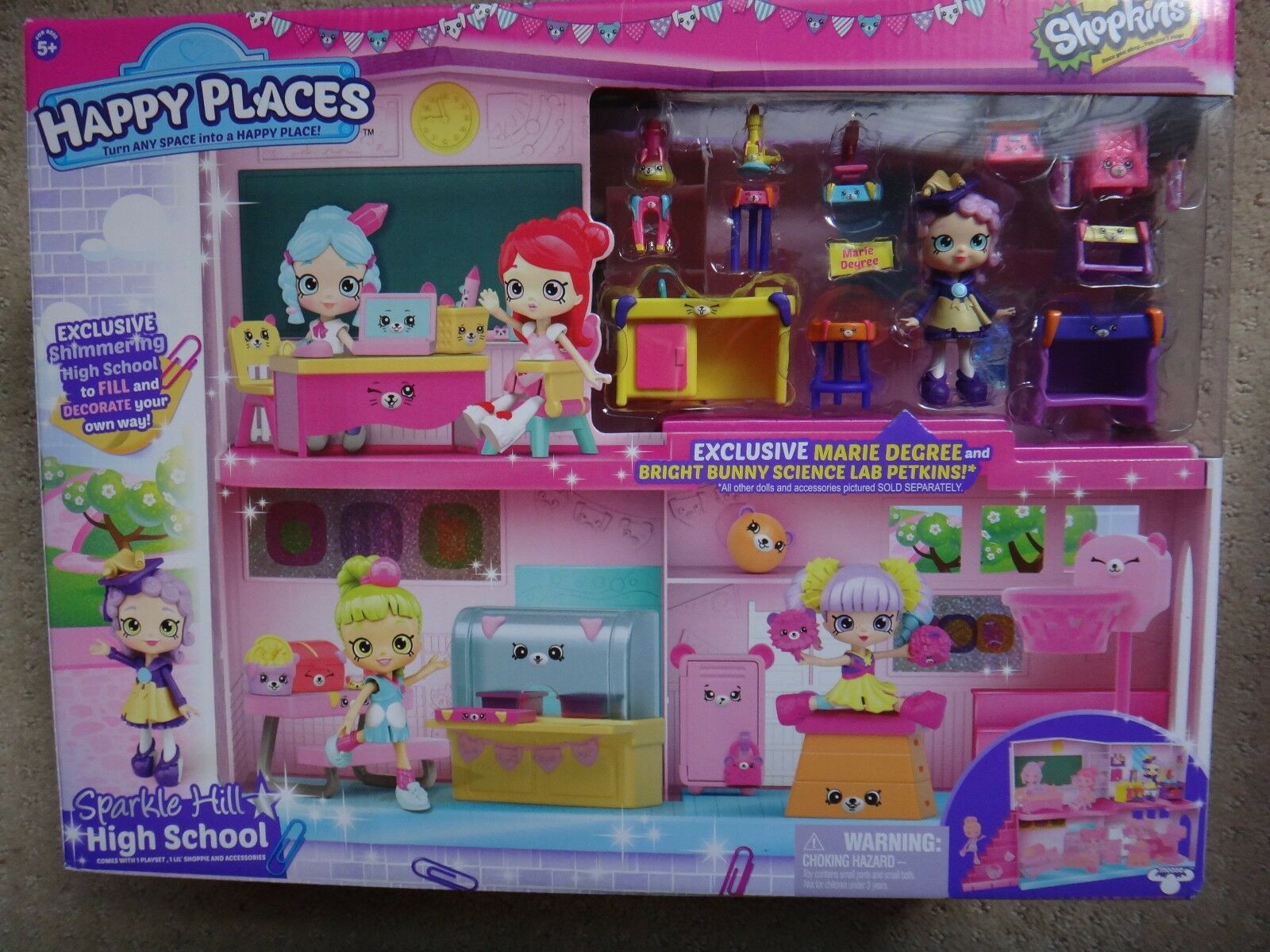 Shopkins Happy Places Sparkle Hill High School Exclusive Marie Degree Girls NEW