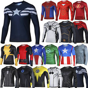 Men-T-Shirt-Superhero-Marvel-Compression-Under-Skin-Tight-Sport-Top-Cycling