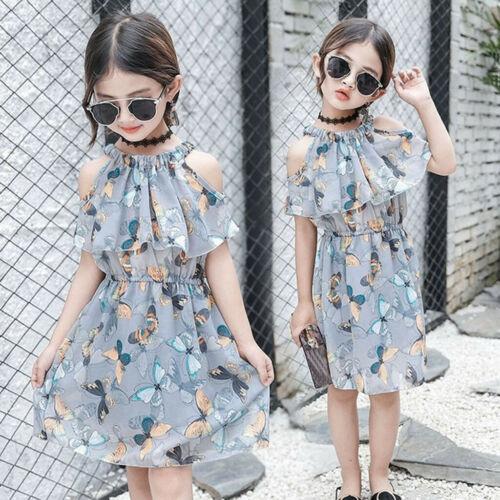 Kids Teen Children Girls Butterfly Ruffler Off Shoulder Tulle Princess Dresses