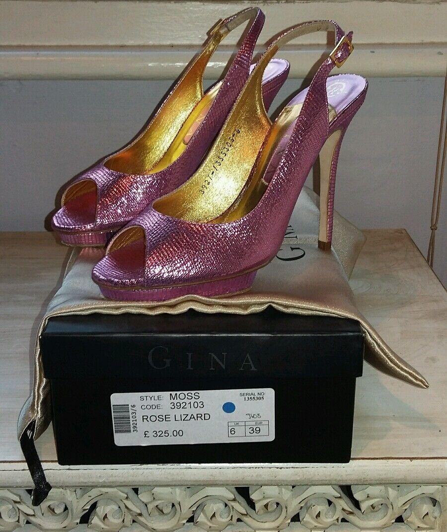 GINA DESIGNER Rosa LIZARD SLING BACK PEEP TOE HEELS Größe UK 6 Gold LINING