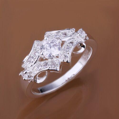 Fashion 925 Sterling Argent Massif Bijoux Cristal Géométrie Anneaux pour femmes R146