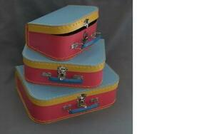 French-Petit-Jour-Children-039-s-Valise-Set-of-3-Suitcases-Cardboard-Suitcases